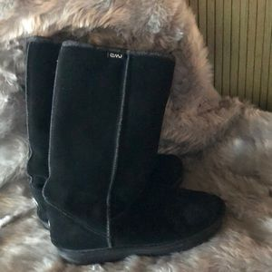 Emu suede high boots
